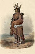 Pachtuwa-Chta, An Arikara Warrior (1839), Hand-colored aquatint drawn by Karl Bodmer (1809-1893). J. Willard Marriott Library, University of Utah. uu_vig27 