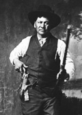 William G. 'Billy' Bruner, a Tulsa Muscogee (Creek) Indian. The caption reads he is a U.S. Deputy Marshal, but Bruner was known for killing U.S. Deputy Marshal Bill Moody in 1889. He died in 1952.