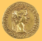 Gold coin of Emperor Claudius, A.D. 50-54, 18 mm, 7.64 grams, minted in Rome