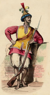 Cochin-Chinese soldier, 1844. Hand-col. wood-engr.; standing uniform figure with rifle, leaning on wall. CchU1844sf-1 (ASK Brown Call No.)