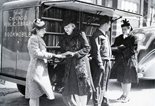 During World War II the Chicago Public Library's Legler Library bookmobile made regular stops at factories on the city's West Side. (Photograph circa 1943). ALA Archives 049-9701055-a