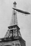Airship No.5 of French inventor and fashion plate Alberto Santos-Dumont reaching the Eiffel Tower in his attempt to win the Deutsch Prize, July 1901. (The airship crashed on the return trip.) Life magazine Photo Archive