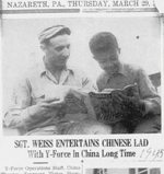 Sgt. Weiss entertains Chinese lad with Y-Force in China long time. Clipping from March 29, 1945