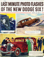 First page of trade pamphlet from ca. 1934 on the Dodge Six automobile