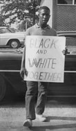 Student participating in Civil Rights protest at Arkansas Agricultural, Mechanical & Normal College, Pine Bluff  (now part of UA Pine Bluff), ca. 1962. From the Orval Faubus Collection, University of Arkansas, Fayetteville