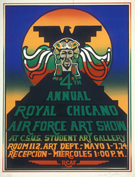Poster for 4th Annual Royal Chicano Air Force Art Show, 1974. Artist: Clara Favela. California Ethnic and Multicultural Archives, Dept of Special Collections, Donald Davidson Library, UC Santa Barbara.
