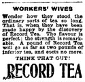 Advertisement for Record Tea from the Wellington Evening Post, April 12, 1910
