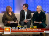 Still from January 15 Today show with Loriene Roy, Laura Amy Schlitz, and Brian Selznick