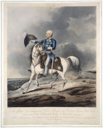 Engraved portrait of Field Marshal von Blücher, Prince of Wahlstadt, on his horse at the Battle of Waterloo; from papers relating to the 'History of the captivity of Napoleon at St Helena' by William Forsyth. Held by the British Library.